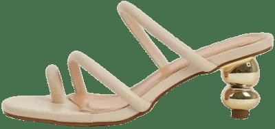 Beige Toe Loop Heeled Mules-Shein