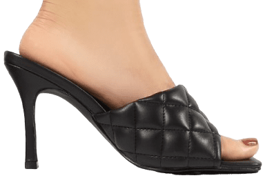 Black Bossy PU Quilted Heeled Mules