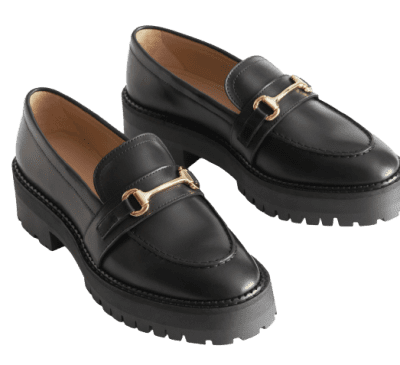 Black Buckled Chunky Leather Loafers