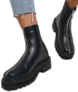 Black Chunky Zip Front Ankle Boots-Truffle Collection