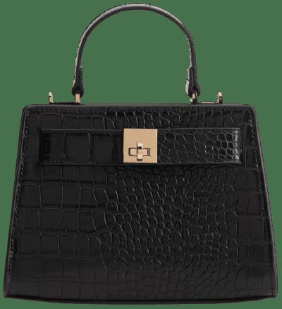 Black Croc-Effect Cross Body Bag-Mango
