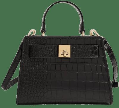 Black Croc-Effect Mini Bag-Mango