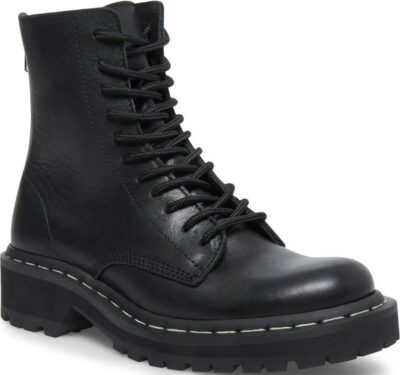 Black Farley Combat Boot-Steve Madden