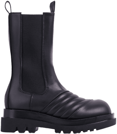 Black Faux Leather Ayah Mid Calf Biker Boots-Ego