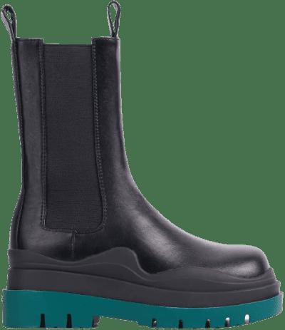 Black Faux Leather Green Chunky Sole Chelsea Biker Boot-Ego