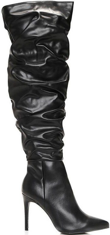 Black Faux Leather Ruched Over The Knee Boots-I Saw It First