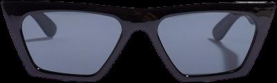 Black Fine Line Cat-Eye Square Sunglasses-Nasty Gal