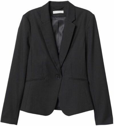Black Fitted Blazer-H&M