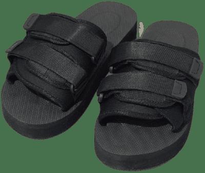 Black Flatform Double Strap Sandals-Prettylittlething