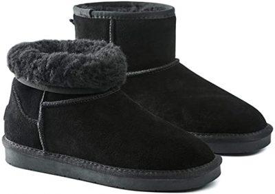 Black Fur Lined Ankle Bootie-Hash Bubbie