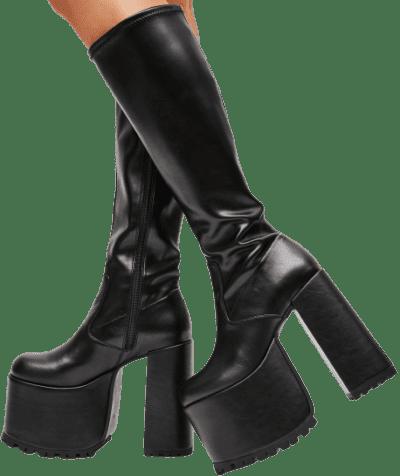 Black Go Go Get It Knee High Boots-Current Mood