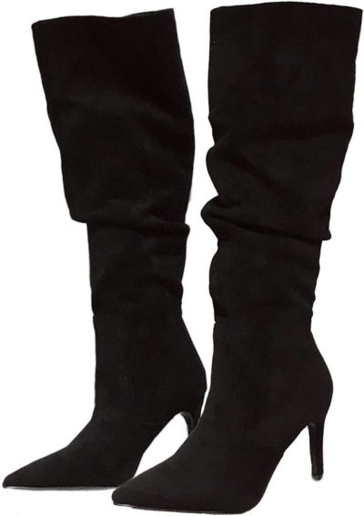 Black Jacey Slouchy Faux Suede Knee High Boots-Goodnight Macaroon