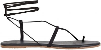 Black Jo Leather Lace-Up Sandals-TKEES