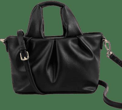 Black Juliet Ruched Mini Tote-Francesca's