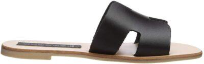 Black Leather Greece Sandal-Steve Madden