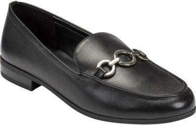 Black Leather Hardware Loafer-Bandolino