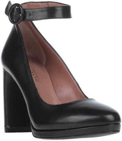 Black Leather Pump-Albano