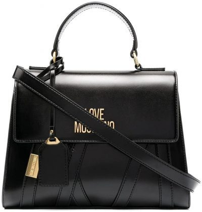 Black Logo Patch Tote-Love Moschino