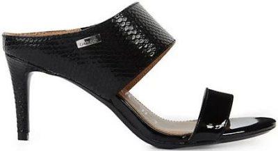 Black Lorinda Croc-Embossed Mules-Calvin Klein