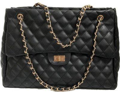 Black 'Luv' Quilted Chain Handbag