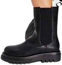 Black Mid Height Chunky Chelsea Boots-Truffle Collection
