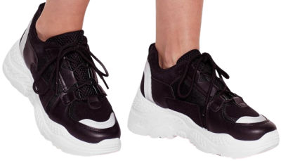 Black Mix It Up Faux Leather Chunky Sneakers-Nasty Gal