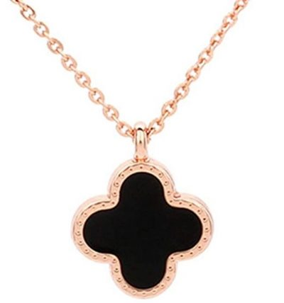 Black Onyx Four Leaf Clover Pendant Necklace
