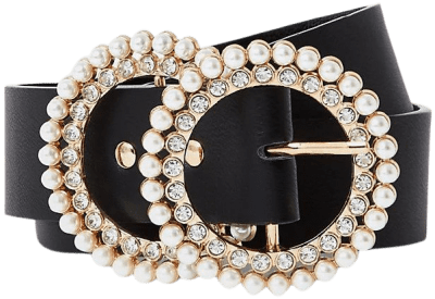 Black Pearl And Diamante Double Ring Belt-River Island
