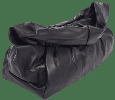 Black Slouchy Ruched Shoulder Bag-Glamorous