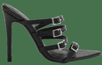 Black Snake Print Multi Strap Buckle Mules