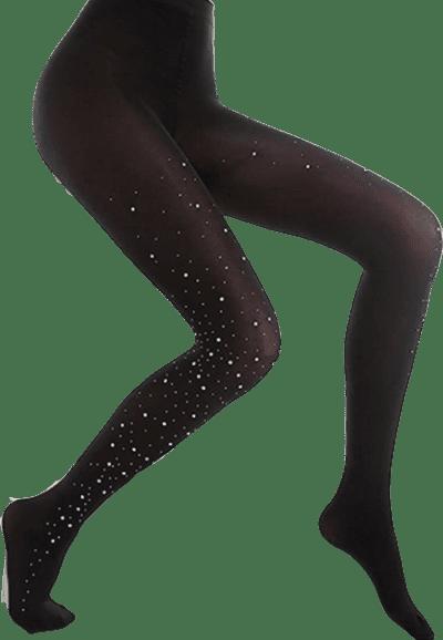 Black Sparkle Rhinestone High-Waist Tights