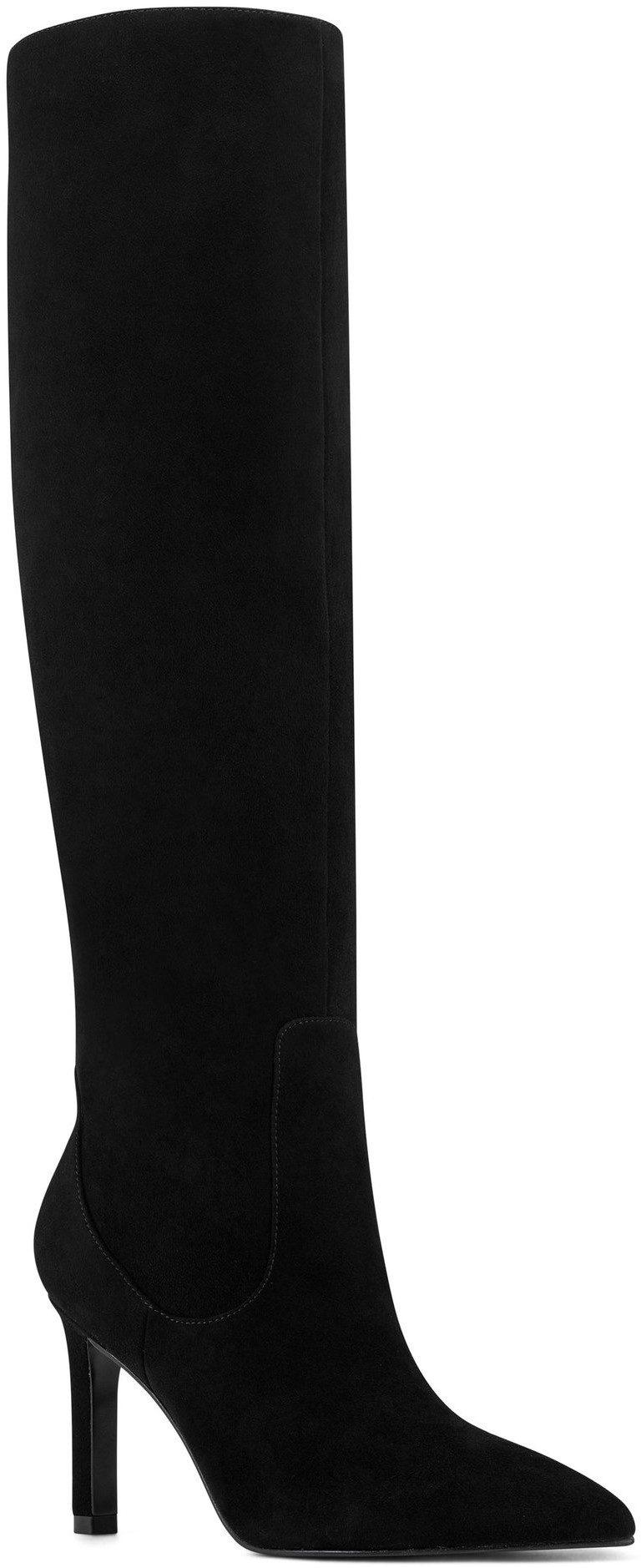 Black Suede Maxim Heel Boots-Nine West