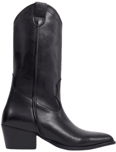 Black Tall Leather Western Boot