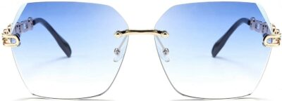 Blue Rimless Sunglasses-FEISEDY