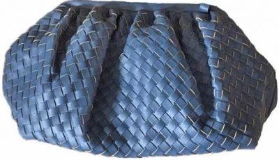 Blue Woven Faux-Leather Cloud Bag