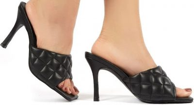 Bossy Black PU Quilted Heeled Mules-Public Desire
