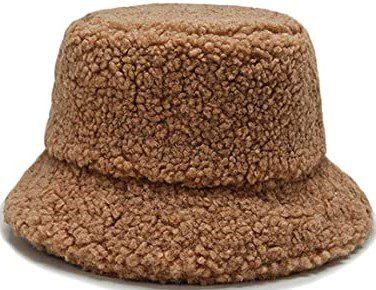 Brown Faux Fur Bucket Hat-Newfancy