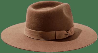 Brown Flat Brim Felt Fedora-Urban Outfitters