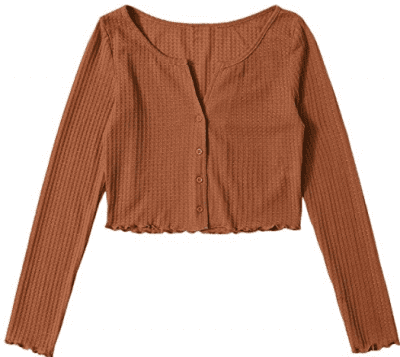 Brown Knit Button-Up Cardigan