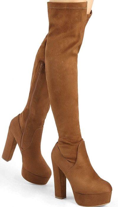 Brown Platform Block Heel Boots