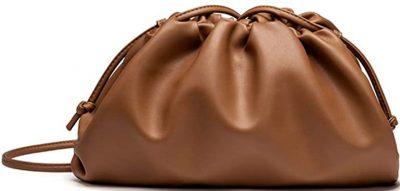 Brown Ruched Clutch Bag-KingTo
