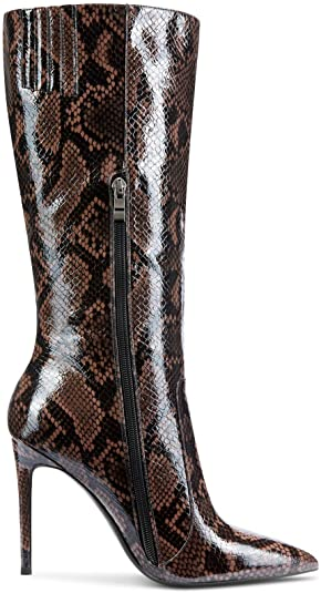 Brown Snake Knee High Boots-CASTAMERE