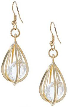 Caged Crystal Drop Earrings-FashionGal