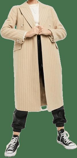 Camel Chalk Stripe Coat-Topshop