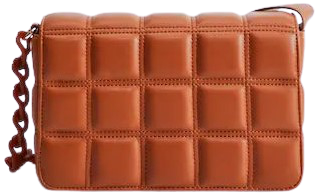 Caramel Quilted Chain Bag-Mango
