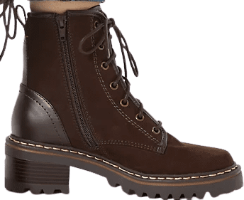 Chocolate Hiking Block Heel Lace-Up Ankle Boots