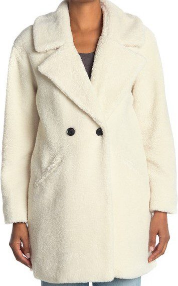 Cream Double Breasted Faux Teddy Fur Coat