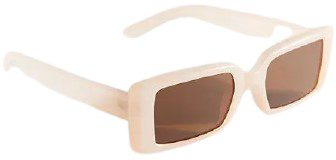Cream Holly Slim Rectangle Sunglasses-Urban Outfitters