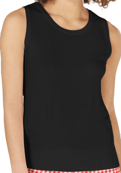 Deep Black Sleeveless Crew-Neck Sweater-Charter Club