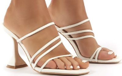 Evie White Strappy High Heels-Public Desire